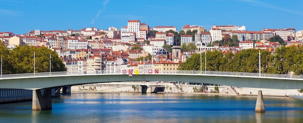 Panoramic view on lyon and saone river in a sunny summer day