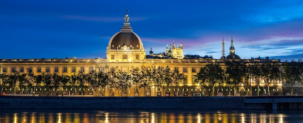 Panoramic view of lyon at sunset with rhone river, france.
