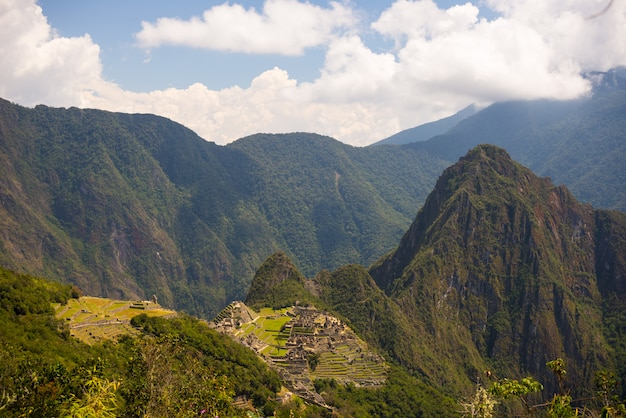 Panoramic view of machu picchu, illuminated by afternoon sunlight,  from the inca trail to the sun gate.
