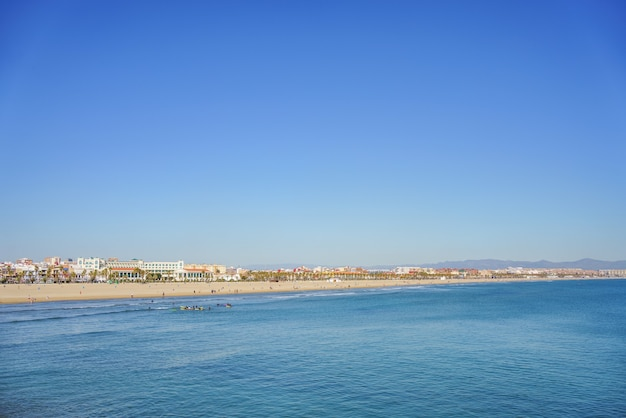 Panoramic view of the malvarrosa beach in valencia spain with big copy space.