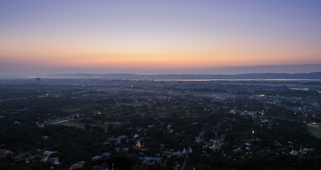 Panoramic view of mandalay sunset from mandalay hill, myanmar