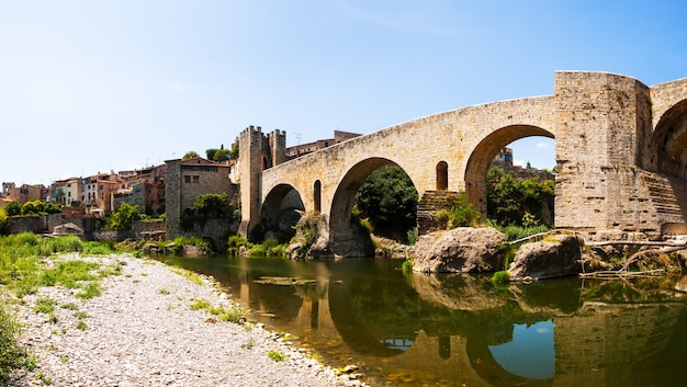 Panoramic view of medieval bridge