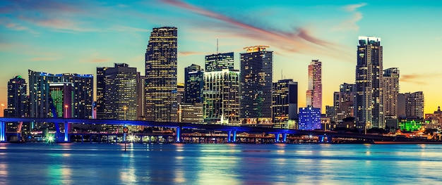 Panoramic view of miami, special photographic processing, usa.