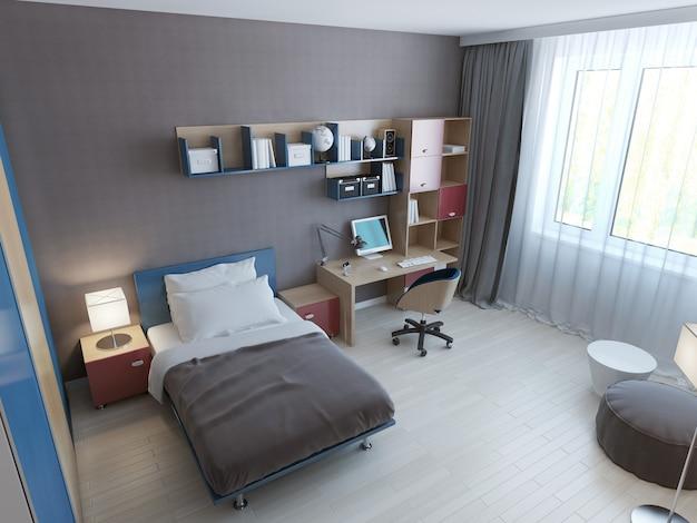 Panoramic view of minimalist children bedroom.