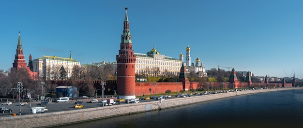 Panoramic view to moscow kremlin from sofiyskaya embankment over river. russia, moscow at early spring