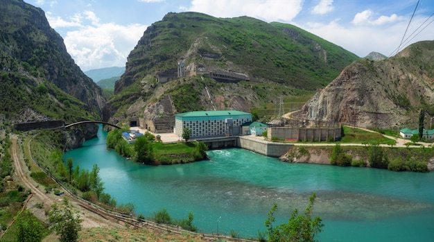 Panoramic view of the mountain hydroelectric power station. beautiful hydroelectric power station near the village of zubutli, dagestan. russia.