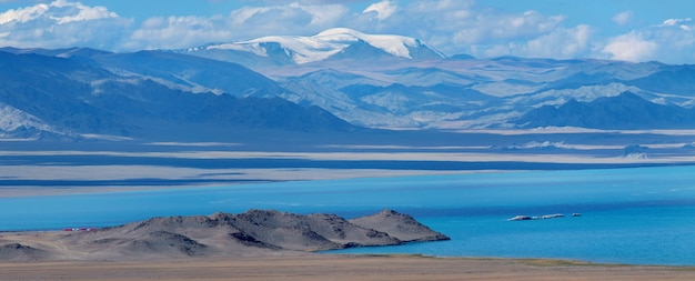 Panoramic view of mountain lake in mongolia
