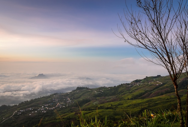 Panoramic view of mountain landscape with curve road at sunrise over sea of fog in phetchabun, thailand