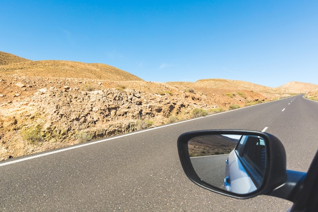Panoramic view of a mountain road in fuerteventura