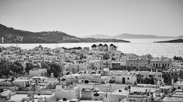 Panoramic view of mykonos town, greece. black and white greek scenery