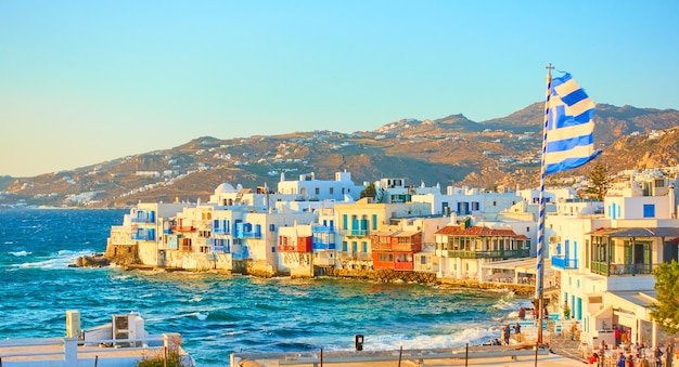 Panoramic view of mykonos town with and little venice district at sundown, cyclades, greece