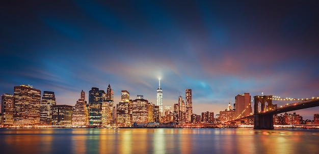 Panoramic view of new york by night