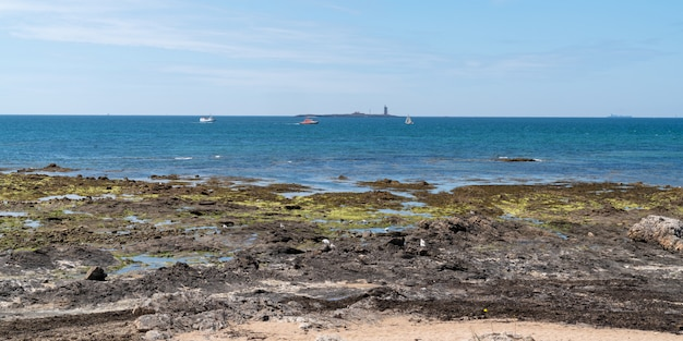 Panoramic view of noirmoutier isle in pays de la loire france in web banner template header