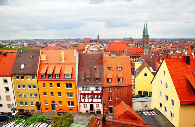 Панорамный вид на старый город в нюрнберге, германия