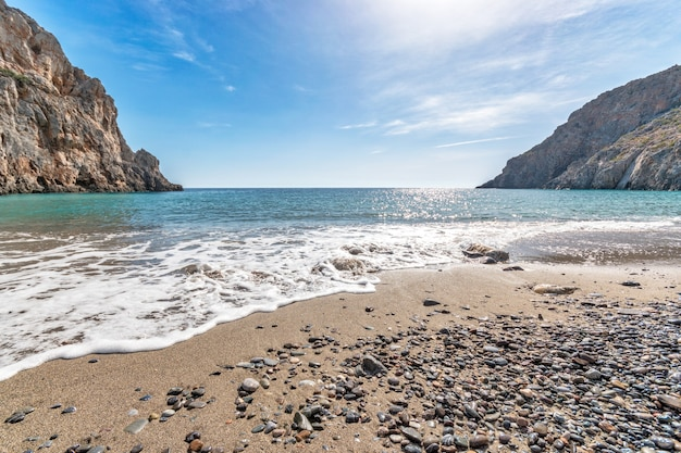 Панорамный вид на красивый пляж, бирюзовую лагуну и скалы