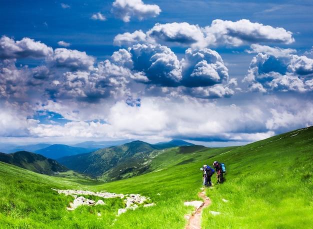 カルパティア山脈のパノラマビュー-山の夏の牧草地