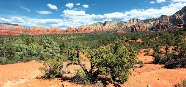 アリゾナ州セドナ近郊の有名な荒野のパノラマビュー