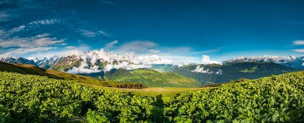 그루지야 자연 도로의 압도적인 풍경을 배경으로 산 배경에 있는 녹색 계곡의 탁 트인 전망