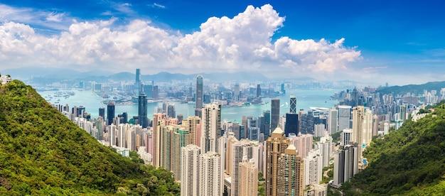 中国、香港のビジネス地区のパノラマビュー