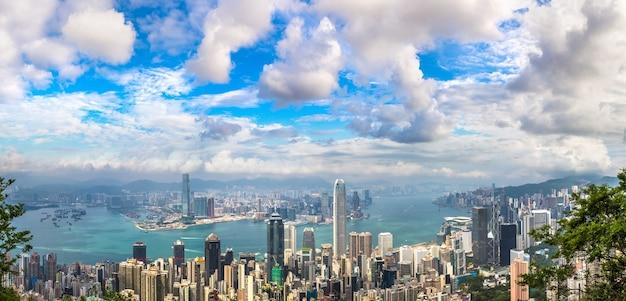 Панорамный вид на деловой район гонконга в китае