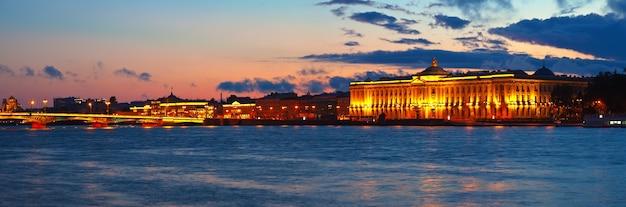 Панорамный вид на неву в закате Бесплатные Фотографии