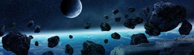 Панорамный вид планеты земля с астероидами, пролетающими вблизи 3d-рендеринга