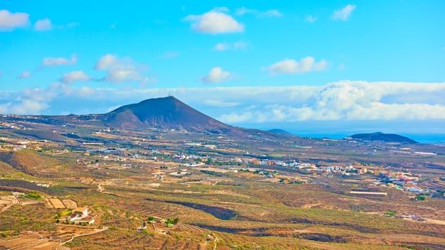 テネリフェ島(南)、カナリア諸島のパノラマビュー-風景