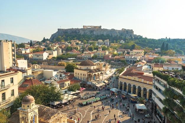 Панорамный вид на акрополь афин, греция