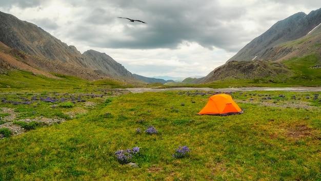 夏の緑の高地高原でのキャンプのパノラマビュー。雨の日のオレンジ色のテント。自然の中のどんな天候でも平和とリラクゼーション。アルタイ山脈。