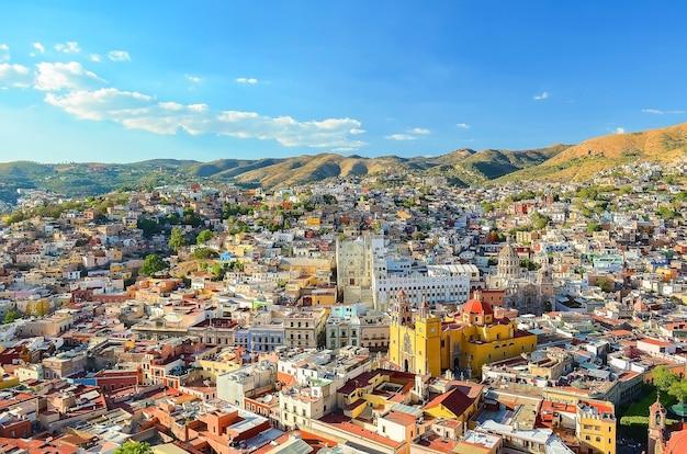 メキシコ、グアナファトの街のパノラマビュー。