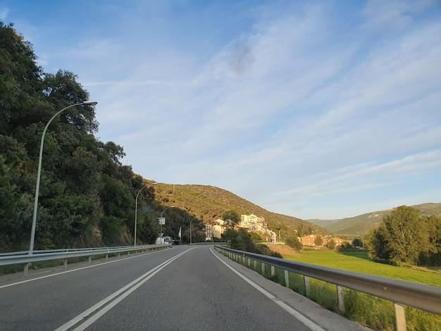 Панорамный вид на поле с зеленой травой и деревьями в летнее время возле дороги.
