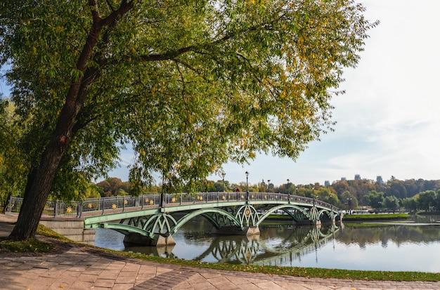 モスクワのツァリツィノ公園にある緑の橋のパノラマビュー。