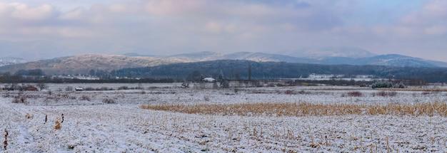 Панорамный вид на гору медведница, покрытую деревьями и снегом, под облачным небом в хорватии.