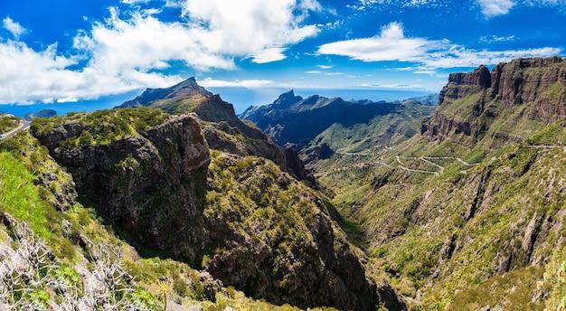 Masca 마을, 테 네리 페, 카나리아 제도, 스페인 근처 산의 전경