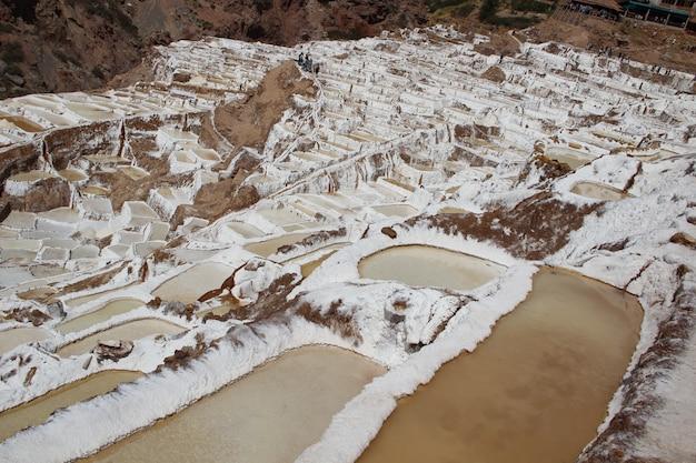 マラス、ペルーの塩鉱山のパノラマビュー