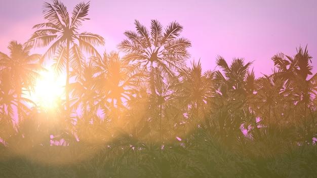 Панорамный вид на тропический пейзаж с пальмами и закатом, летний фон. элегантная и роскошная трехмерная иллюстрация в стиле ретро 80-х, 90-х годов