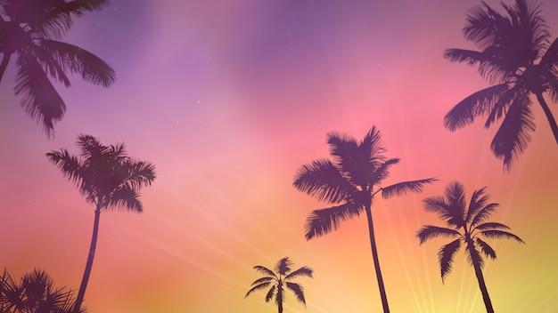 Панорамный вид на тропический пейзаж с пальмами и закатом, летний фон. элегантная и роскошная 3d-иллюстрация в стиле ретро 80-х, 90-х годов