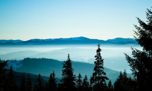 Панорамный вид на зимние холмы и долину, покрытую снегом