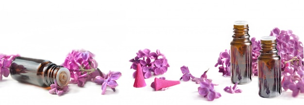 Panoramic view on oil essential bottle and pink petals of lilac flowers on white