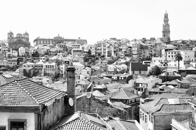 Panoramic view of old town of porto, portugal. black and white