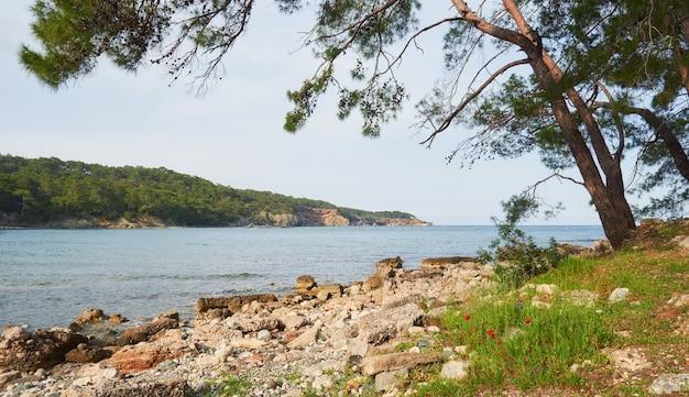 Панорамный вид на морское побережье. мир красоты. турция