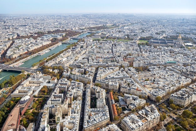 Panoramic view of paris from eiffel tower in autumn, france