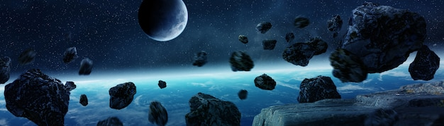 Panoramic view of planet earth with asteroids flying close 3d rendering