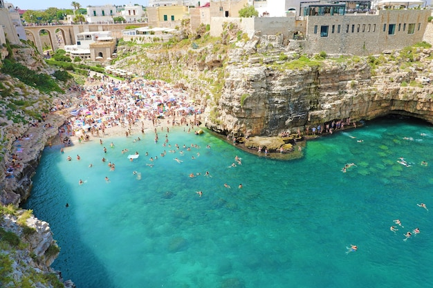 Panoramic view of polignano a mare, italy