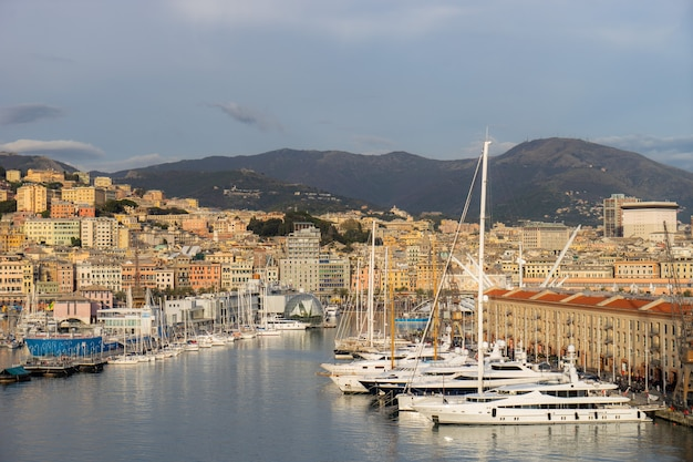Panoramic view port of genoa in a summer day, italy.