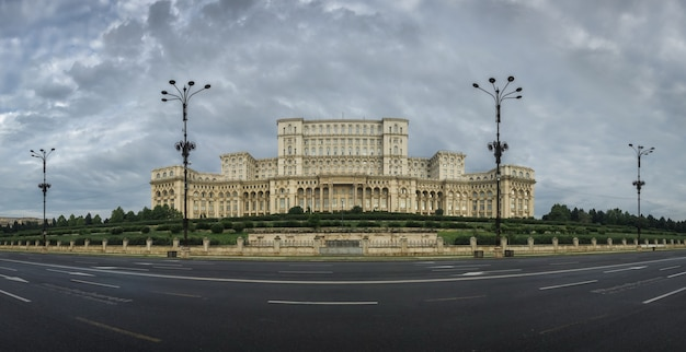 Panoramic view of the romanian parliament in bucharest