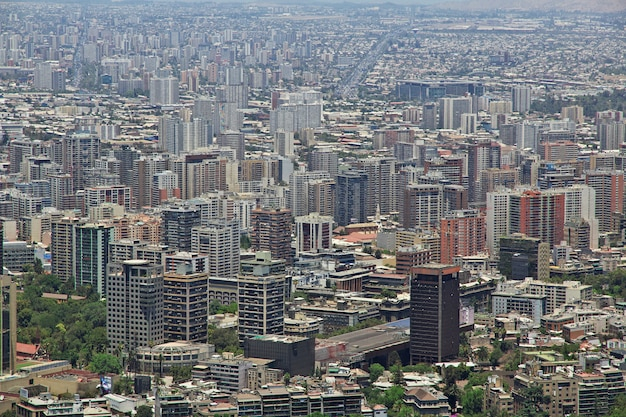 Panoramic view of santiago from san cristobal hill, chile