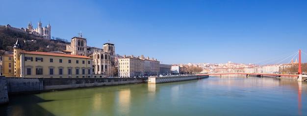 Panoramic view of saone river in lyon city, france Premium Photo