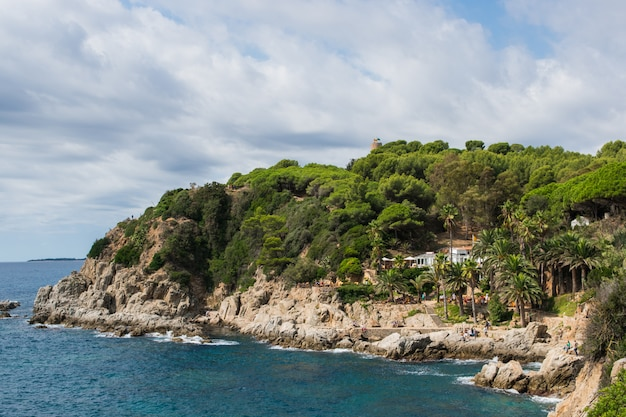 Panoramic view of the sea and island.