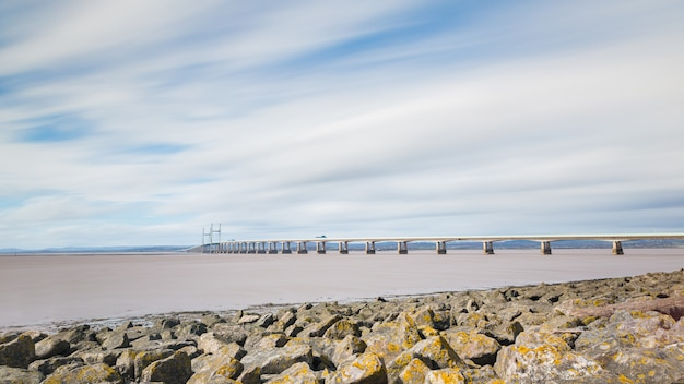 Panoramic view of second severn crossing from bristol